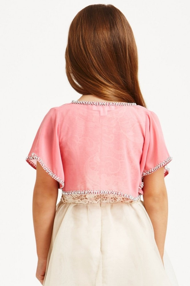 Little MisDress Pink Beaded Chiffon Cardigan
