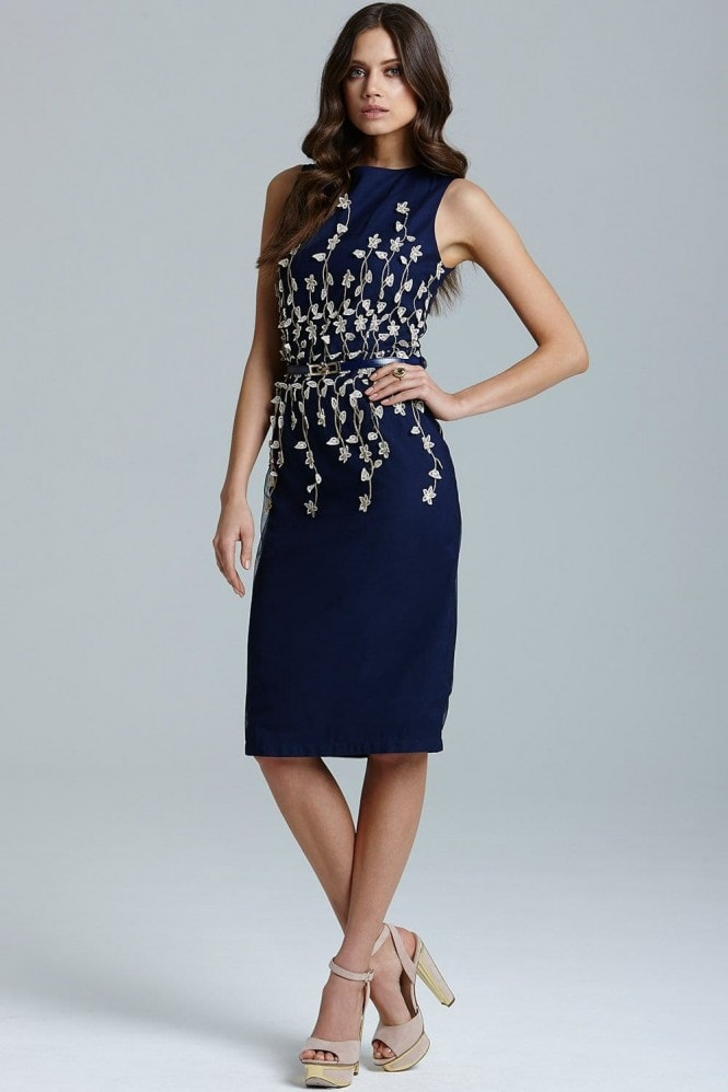 Navy  embroidered waist bodycon dress