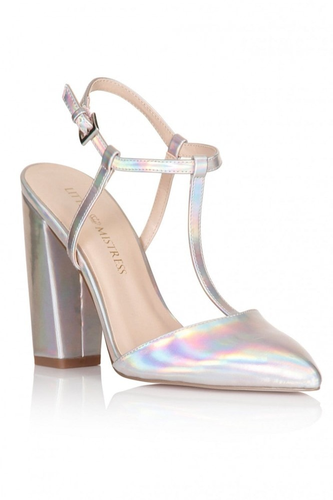 Little Mistress Footwear Holographic T-Bar Pointed Heels
