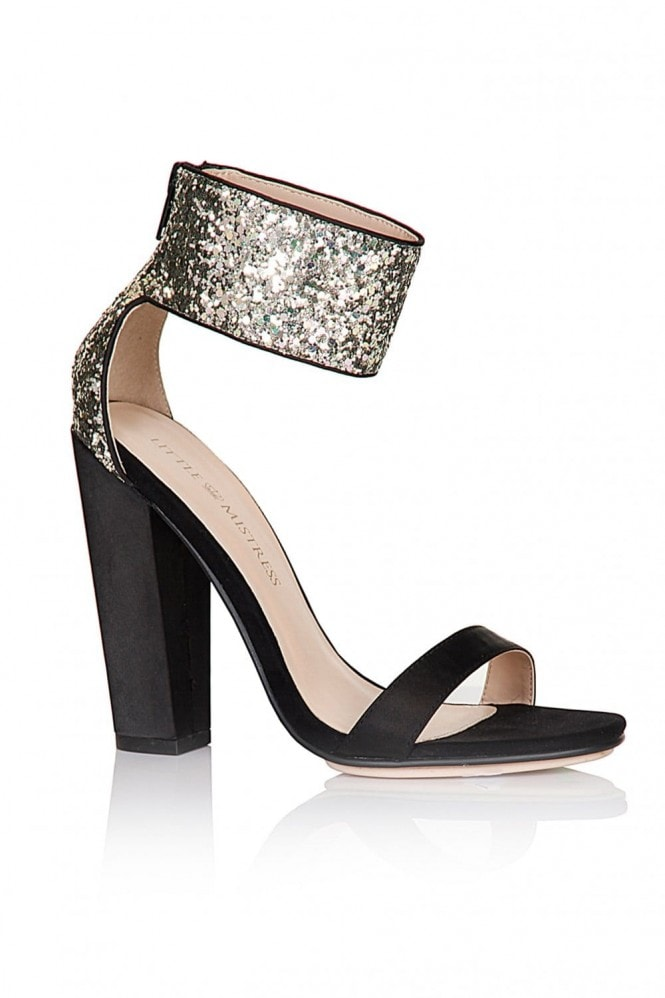 Little Mistress Black Glitter Cuff Two Strap Heels