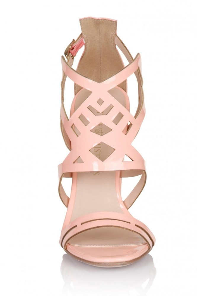 Little Mistress Footwear Pink Square Heel Strap Shoes