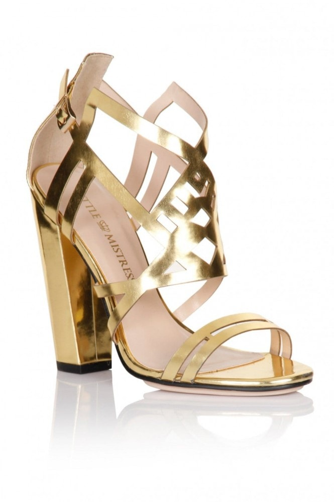Gold Square Heel Strap Shoes