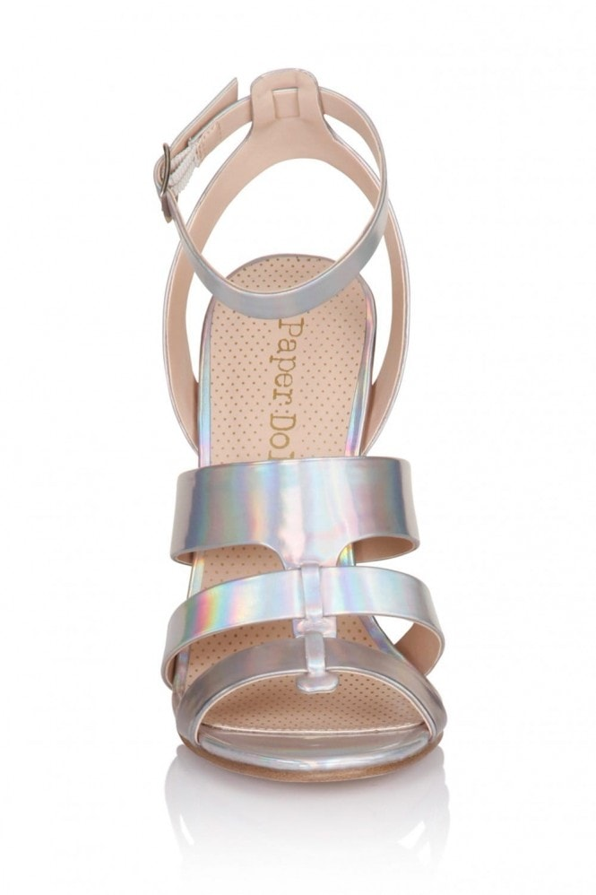 Outlet Paper Dolls Silver Stripe Triple Strap Heels