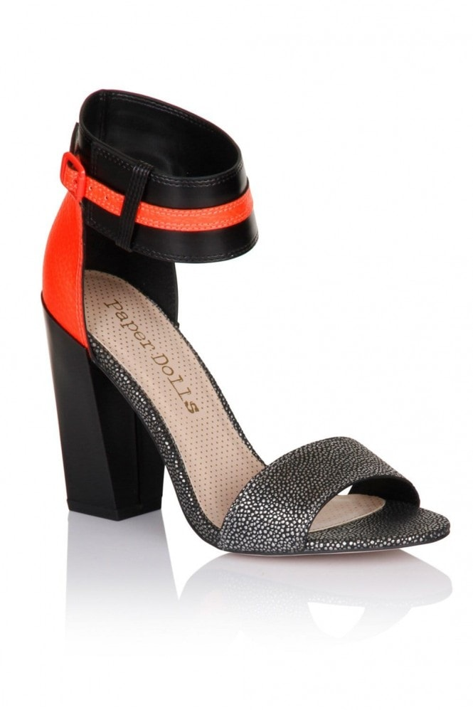 Outlet Paper Dolls Black and Coral Metallic Two Strap Heels