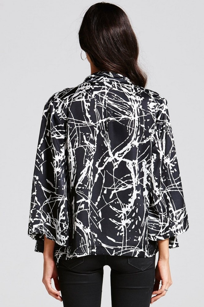 Outlet Girls On Film Black and White Slash Print Open Blazer