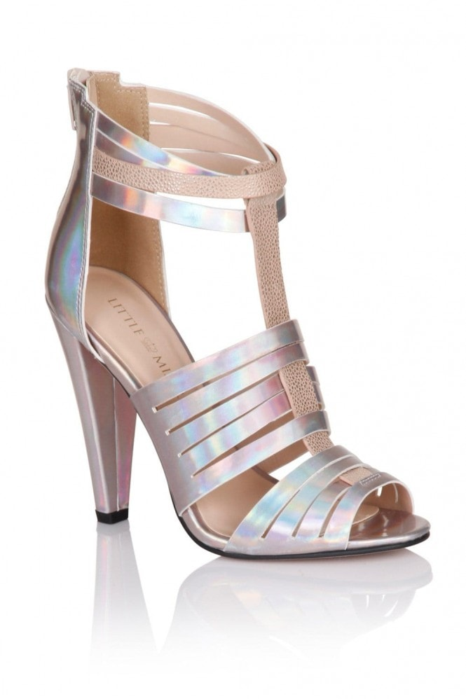 Little Mistress Footwear Holographic Silver Multi Cut Out Heels