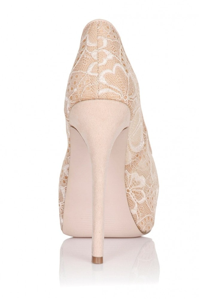 Little Mistress Footwear Nude Floral Lace Peep Toe Heels