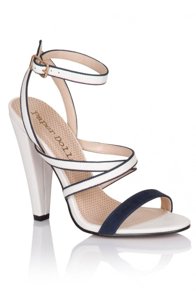 Paper Dolls Navy and White Multi Strap Heels