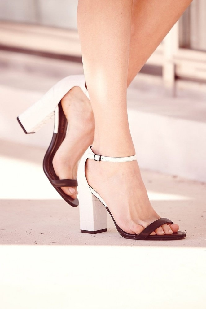 Paper Dolls Footwear Black and White Two Strap Heels