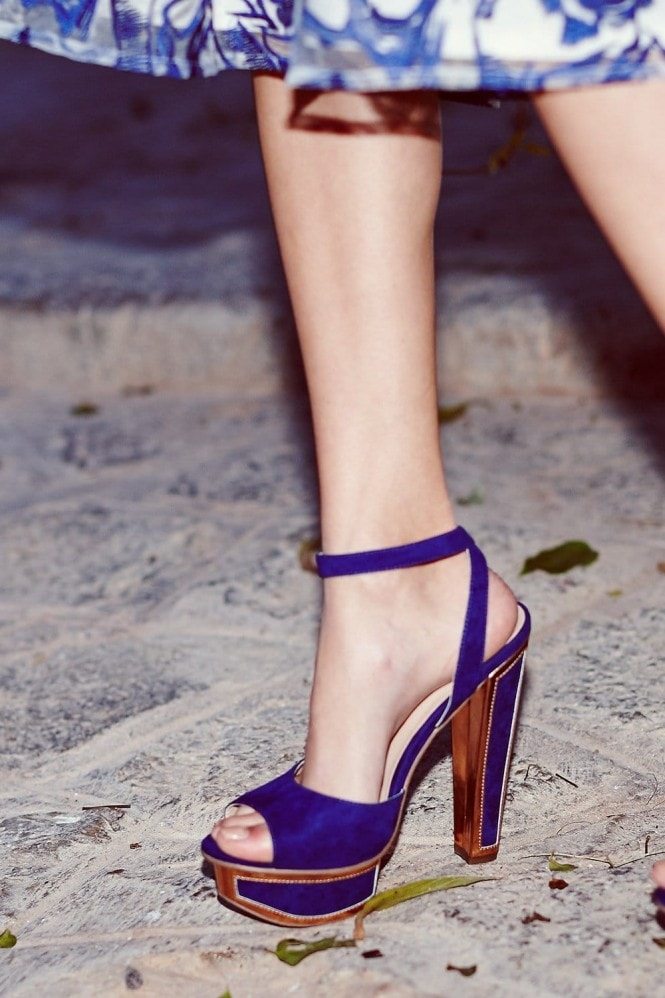 Blue and Gold Trim Heel Shoes