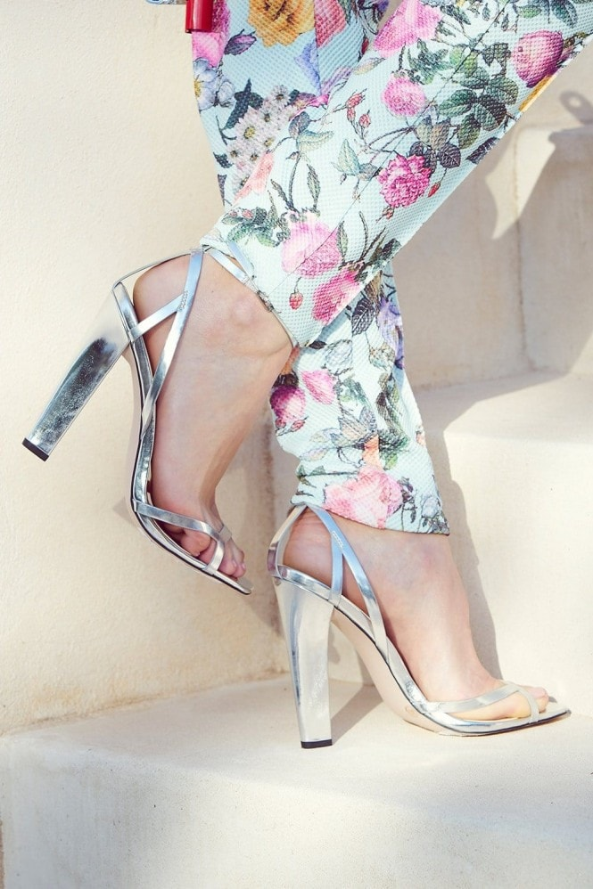 Paper Dolls Silver Open Strap Square Toe Heels