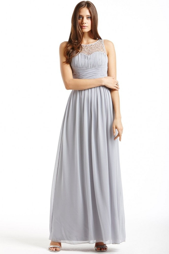 Little Mistress Grey Embellished Detail Maxi Dress