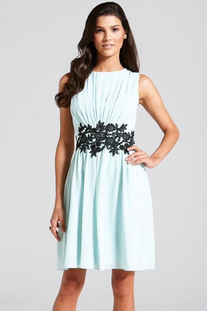 Little Mistress Mint Embroidered Waist Fit and Flare Dress