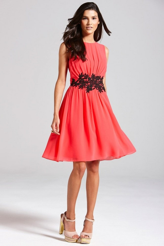 Coral Embroidered Waist Fit and Flare Dress