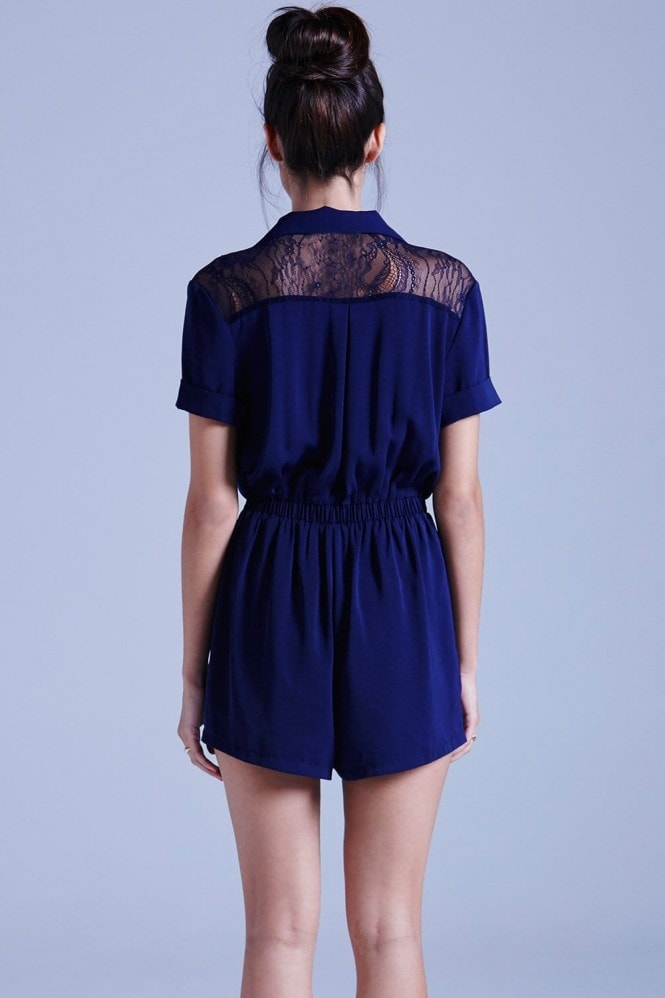 Outlet Girls On Film Navy Collared Playsuit