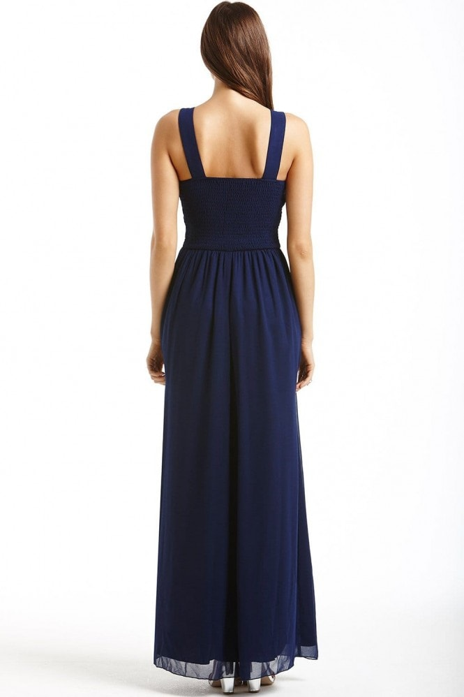 Little Mistress Navy Embellished Detail Maxi Dress