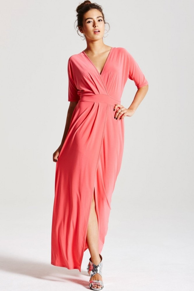 Outlet Girls On Film Coral Split Hem Maxi Dress