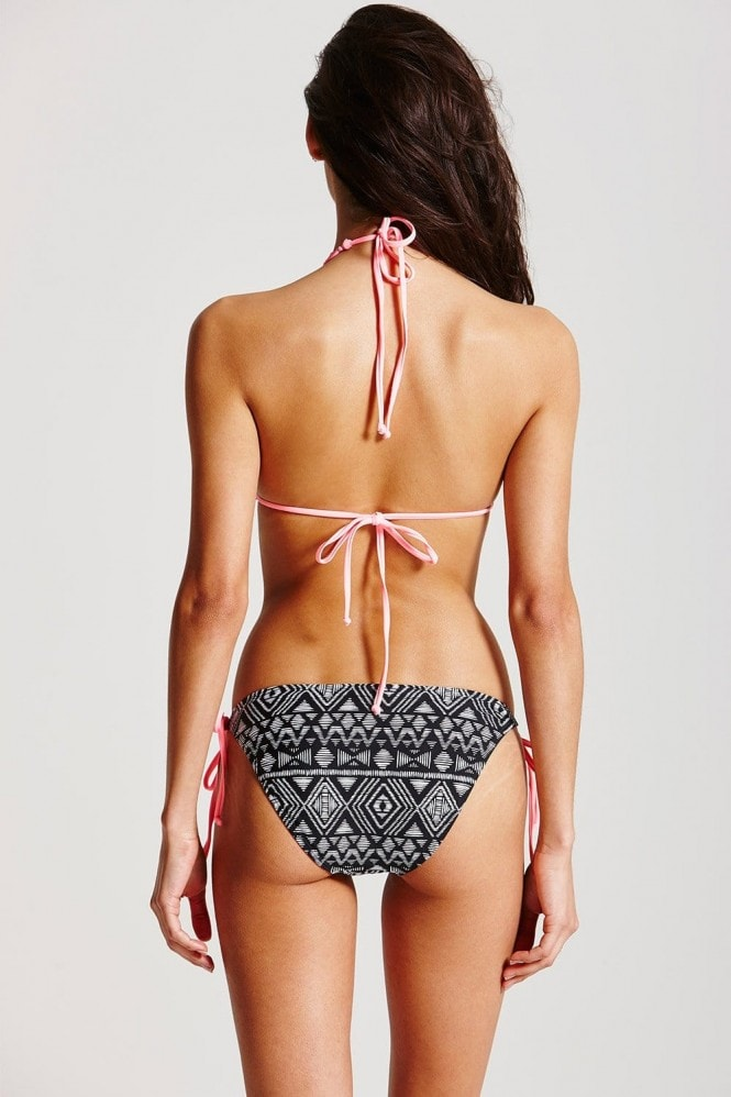 Outlet Paper Dolls  Pink and Black Mesh Overlay Bikini