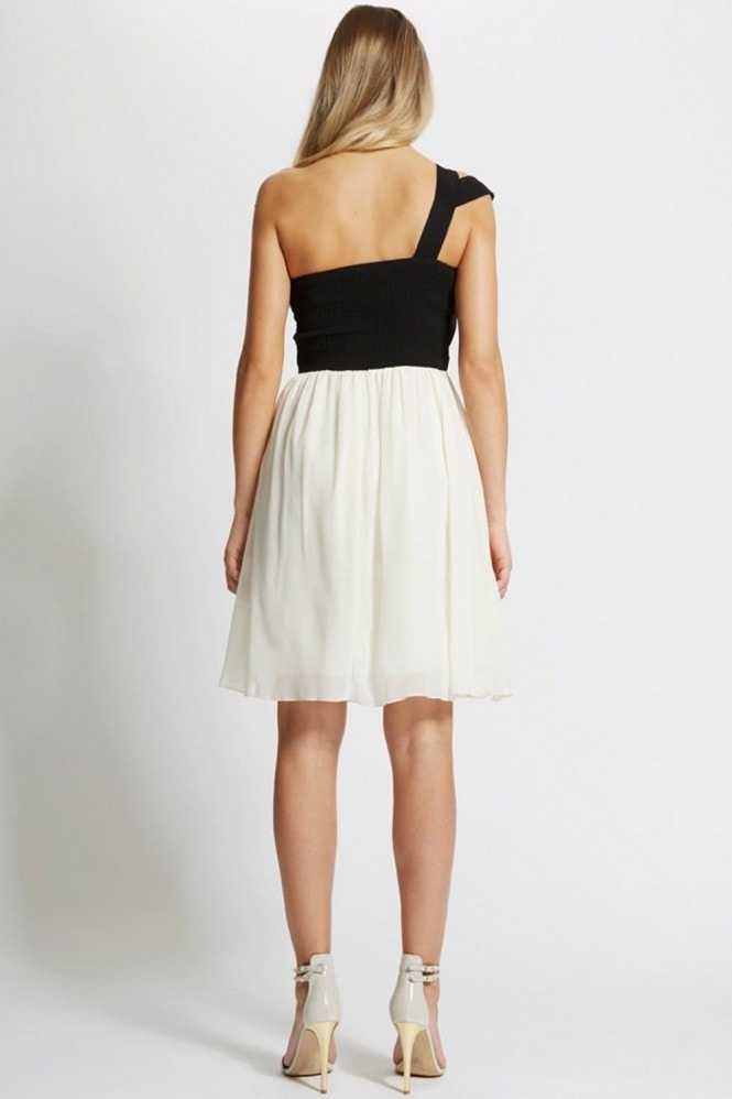 Black and Cream One Shoulder Dress