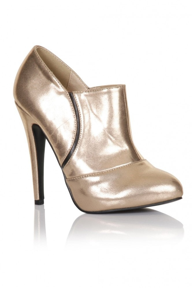 Little Mistress Footwear Gold Stiletto Heel Ankle Boots