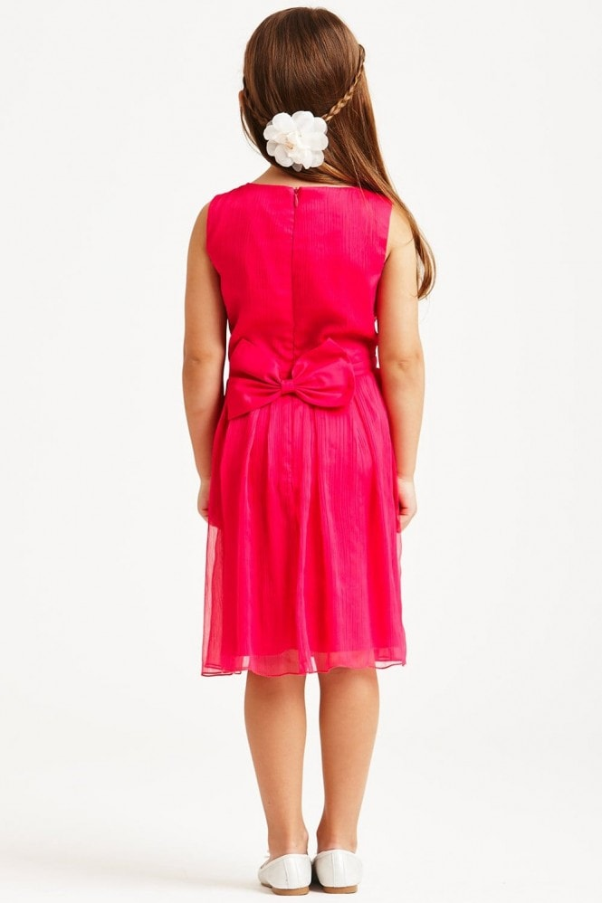 Little MisDress Pink Chiffon Bow Back Dress