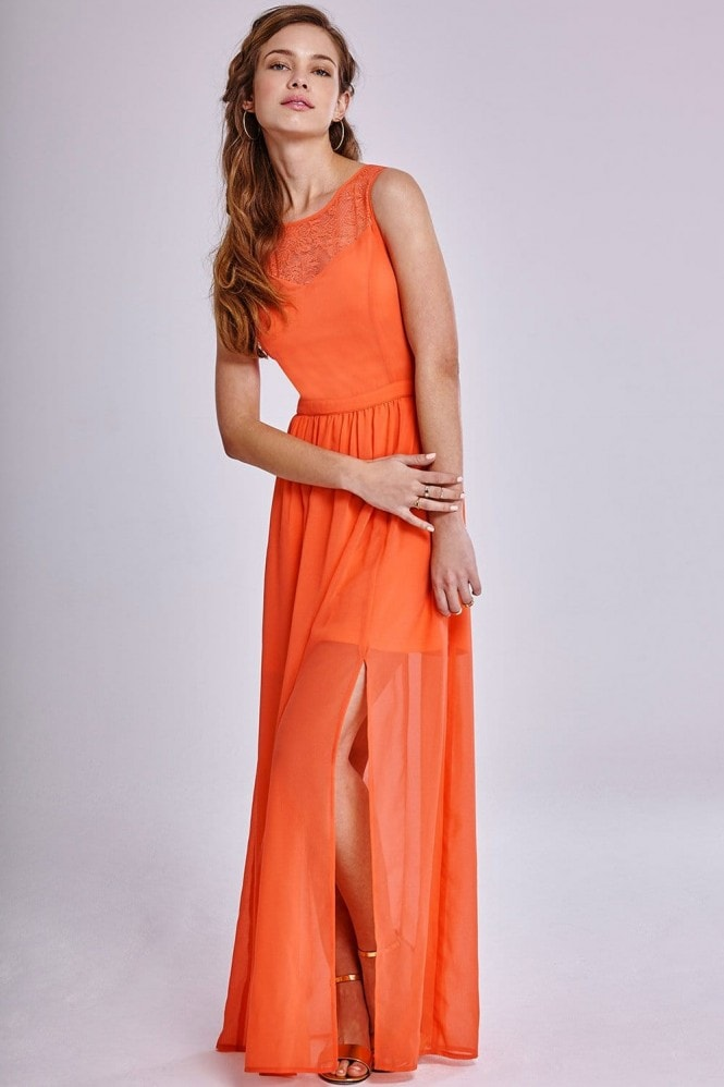 Outlet Girls On Film Coral Chiffon Split Skirt Maxi Dress