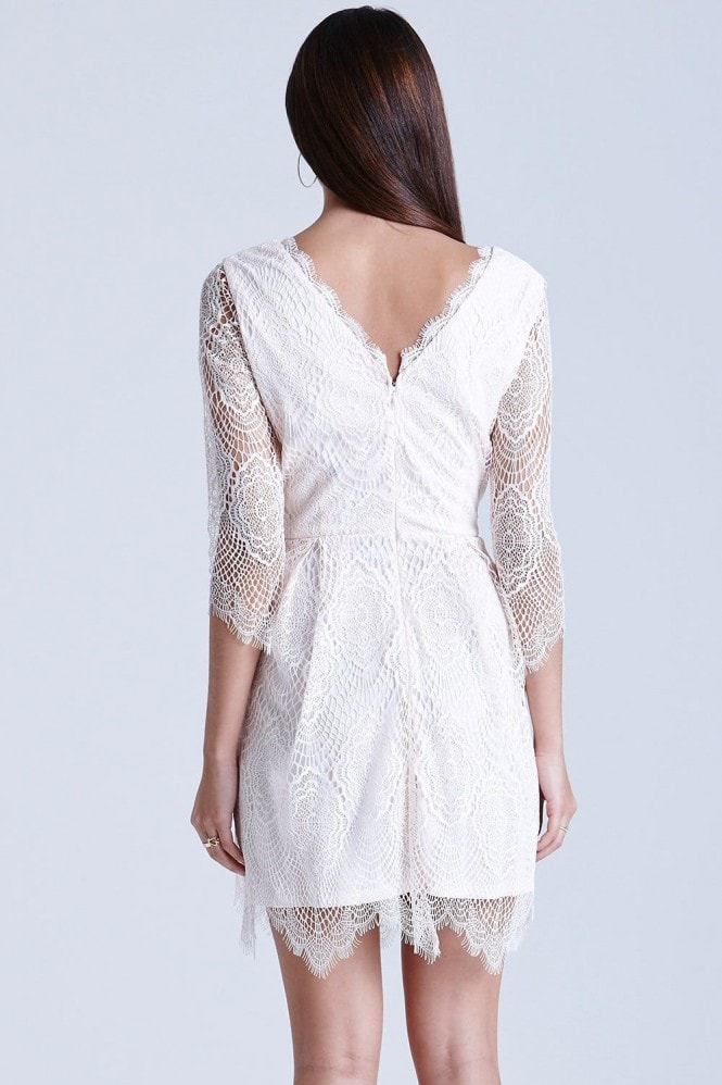 Girls on Film Nude Eyelash Lace Dress