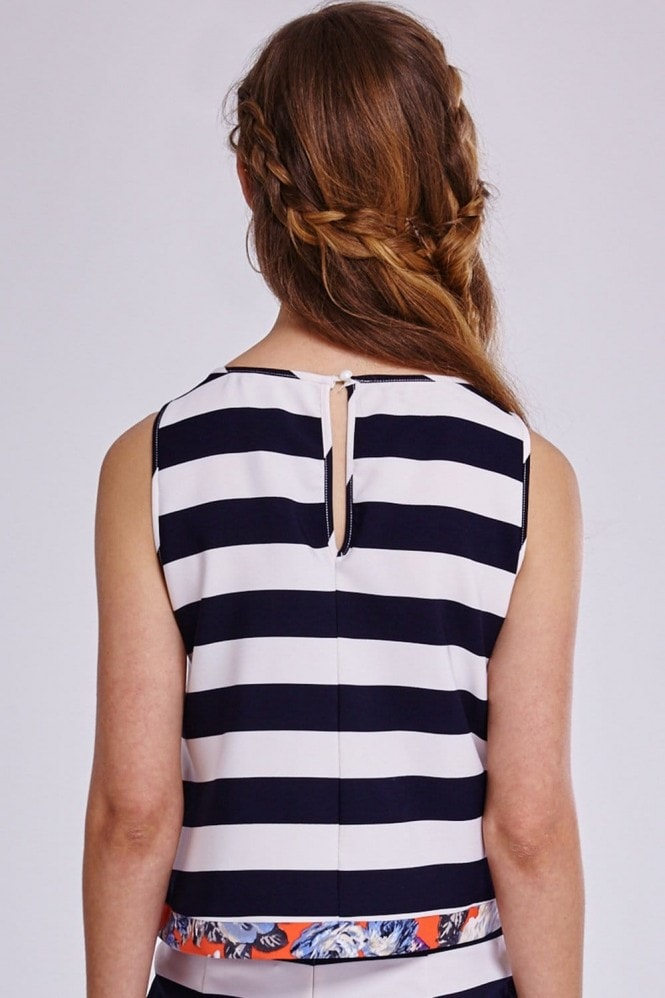 Outlet Girls On Film Navy and White Stripe Floral Trim Top