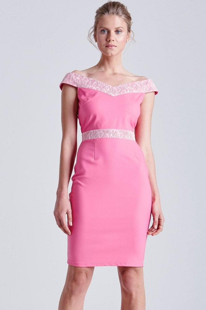 Outlet Paper Dolls Pink and White Lace Bardot Dress