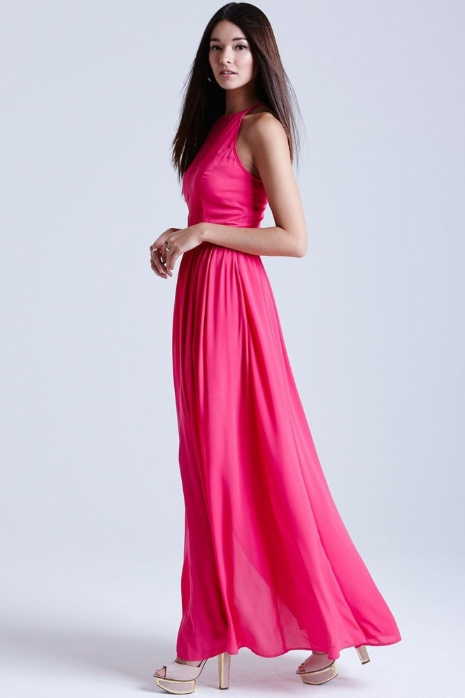 Outlet Girls On Film Pink Lace Insert Maxi Dress Outlet