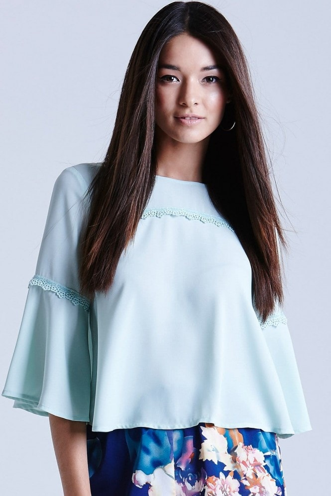 Outlet Girls On Film Mint Chiffon Flare Sleeve Top