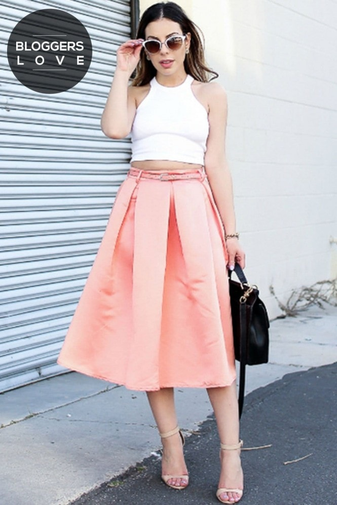 Outlet Girls On Film Coral Structured Midi Skirt With Belt