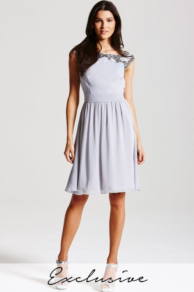 Little Mistress Grey Embellished Top Dress