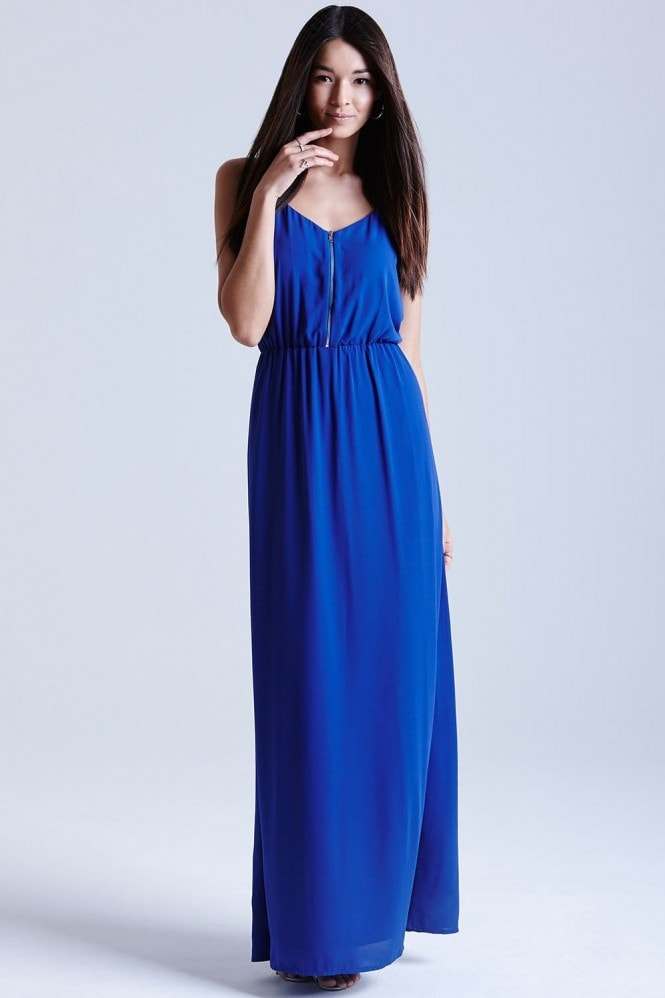 Outlet Girls On Film Blue Chiffon Maxi Dress