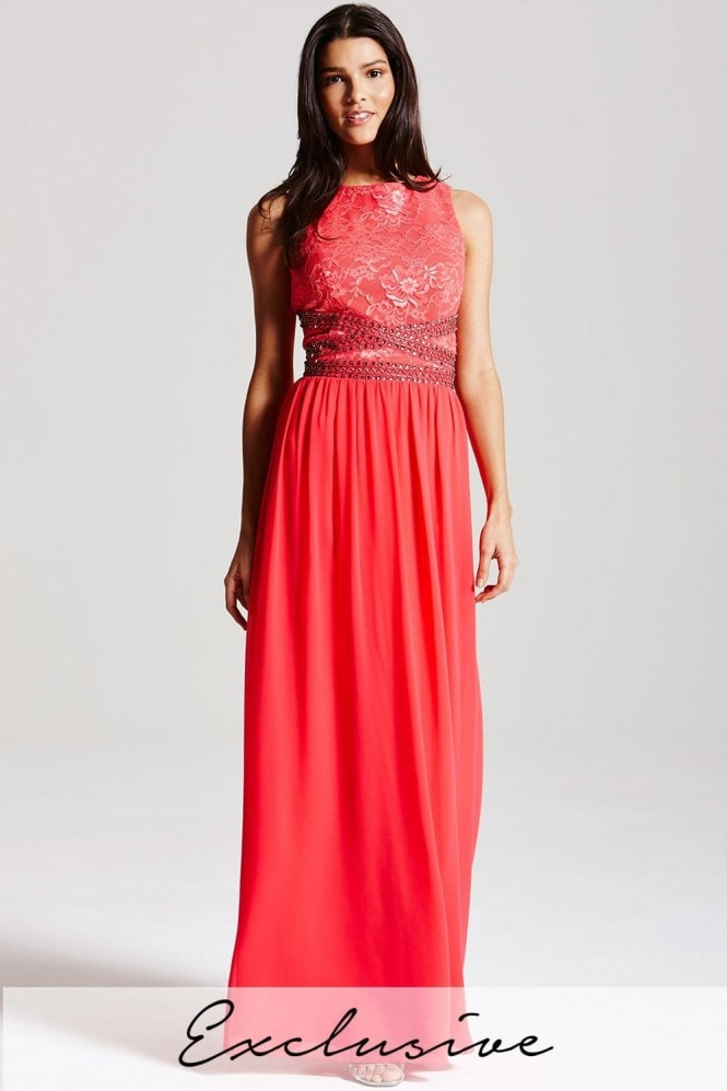 Little Mistress Coral lace embellished maxi dress