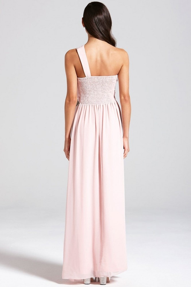 Little Mistress Nude One Shoulder Maxi Dress