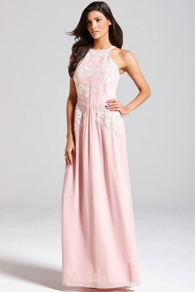 Rose Pink Floral Embroidered Maxi Dress