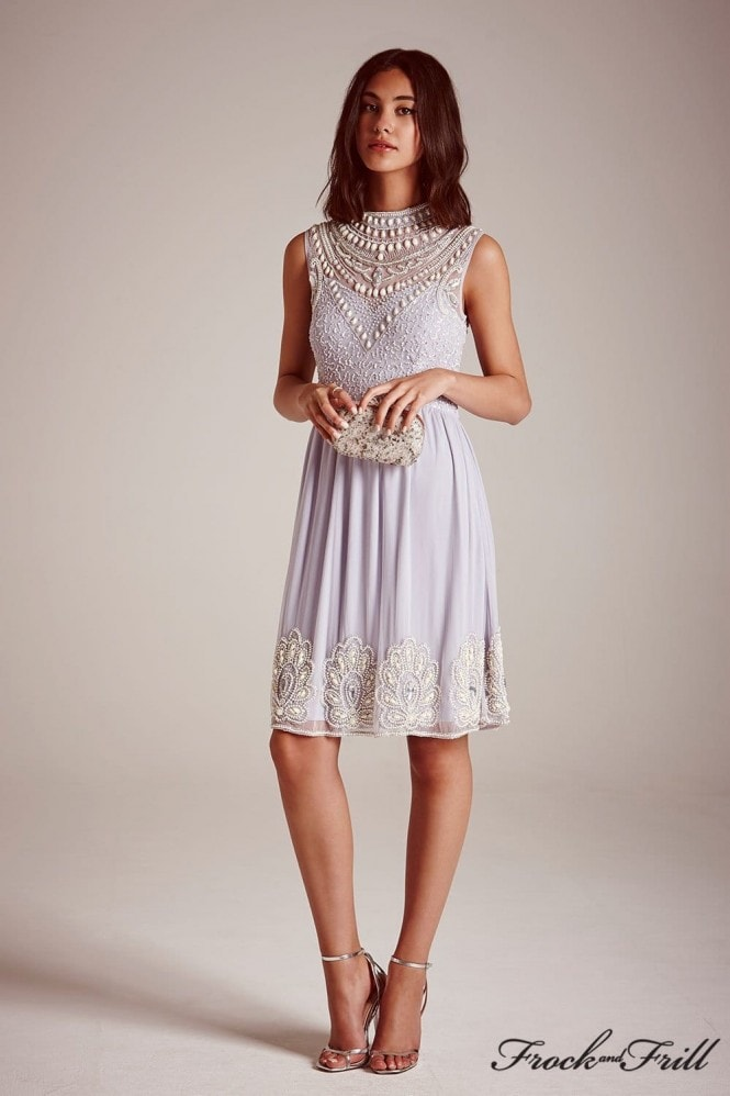 Frock and Frill Lilac Highneck Embellished Skater Dress
