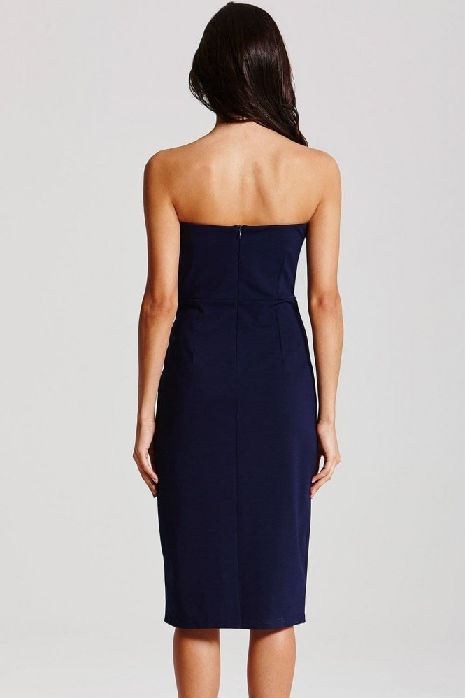 Navy Wrap Over Bandeau Dress