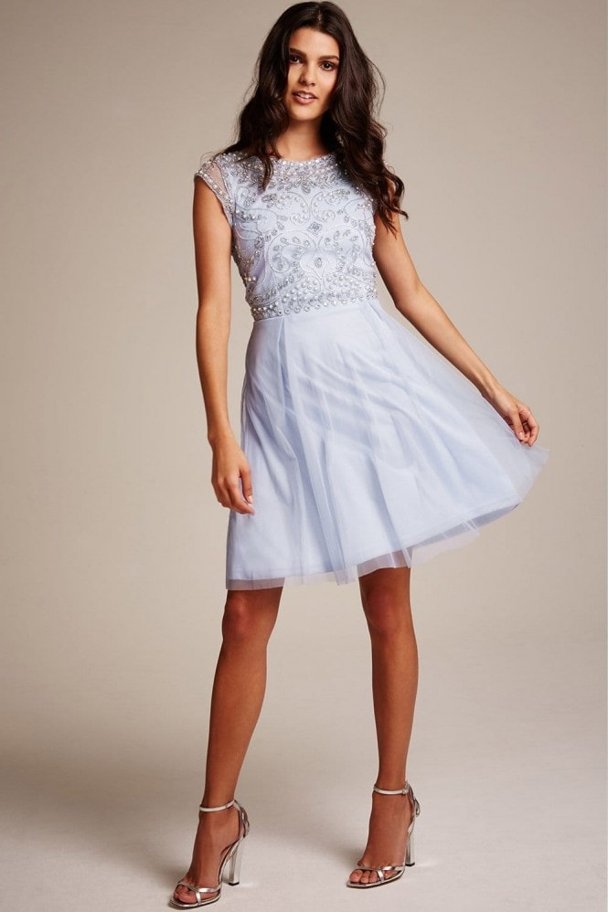 Frock and Frill light blue fit and flare dress