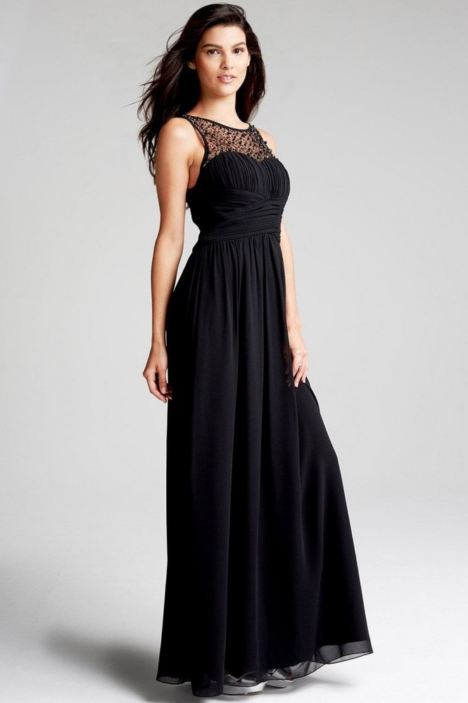 Black Embellished Neck Maxi Dress