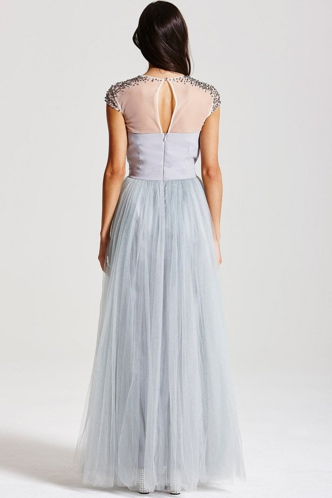 Little Mistress Grey Beaded Maxi Dress