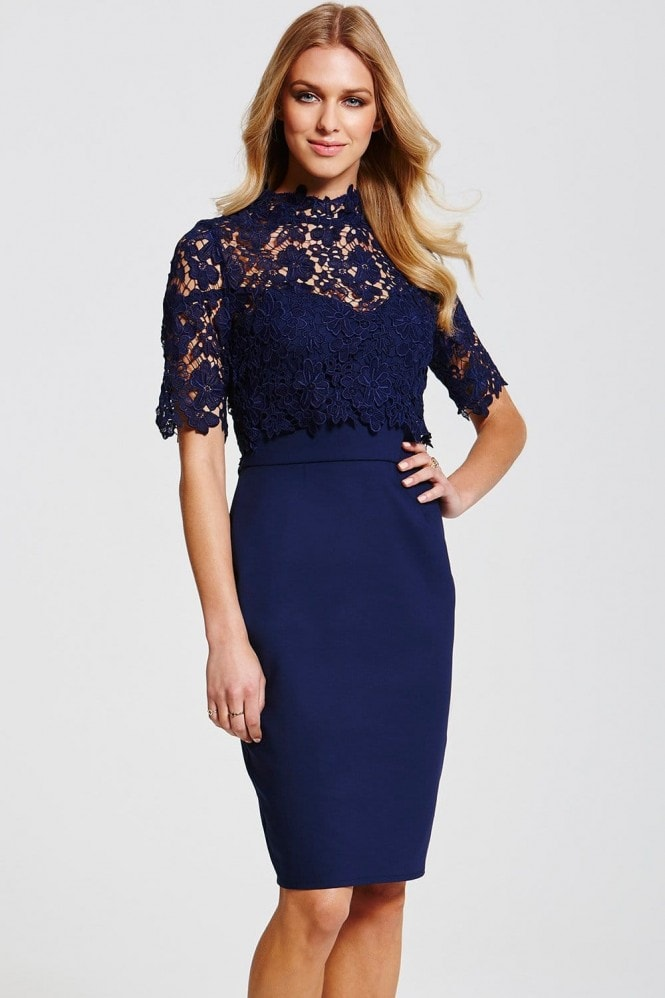 Paper Dolls Navy Floral Lace Overlay Dress