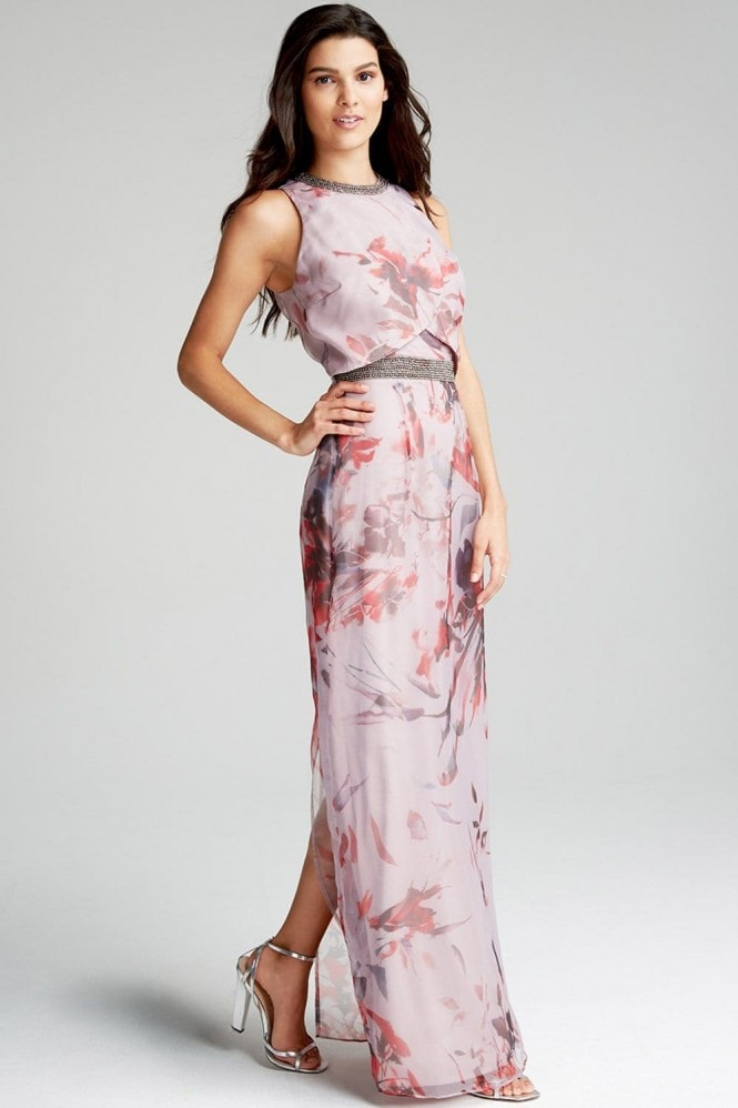 Little Mistress Oriental Floral Maxi Dress