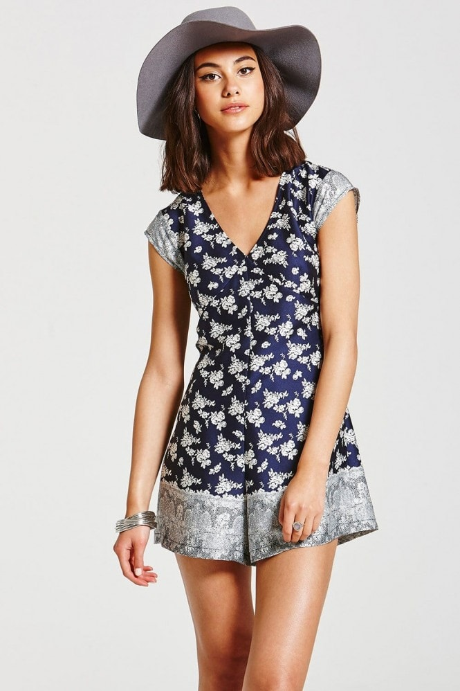 Girls on Film Navy and White Floral Playsuit