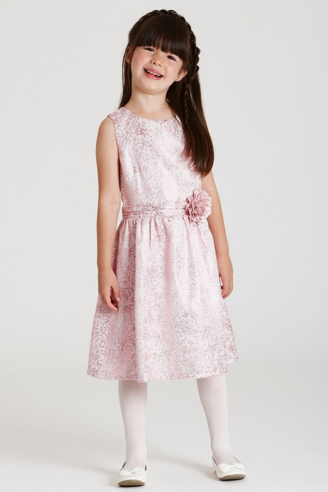 Little MisDress Pink Metallic Baroque Dress