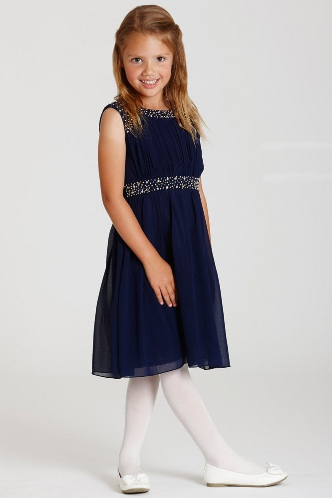 Little MisDress Navy Embellished Chiffon Dress