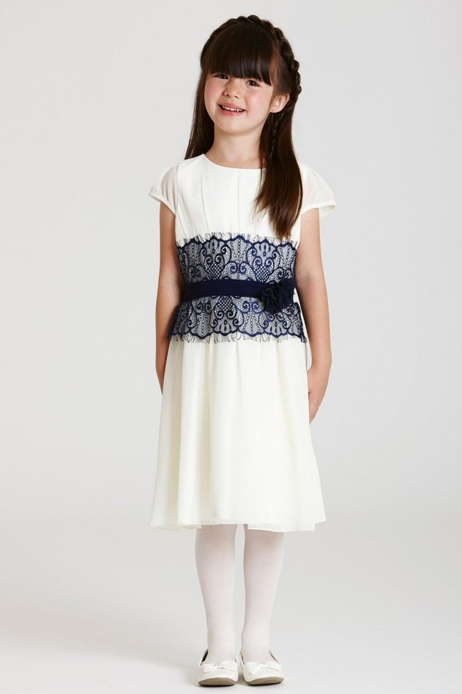 Little MisDress White and Navy Lace Dress