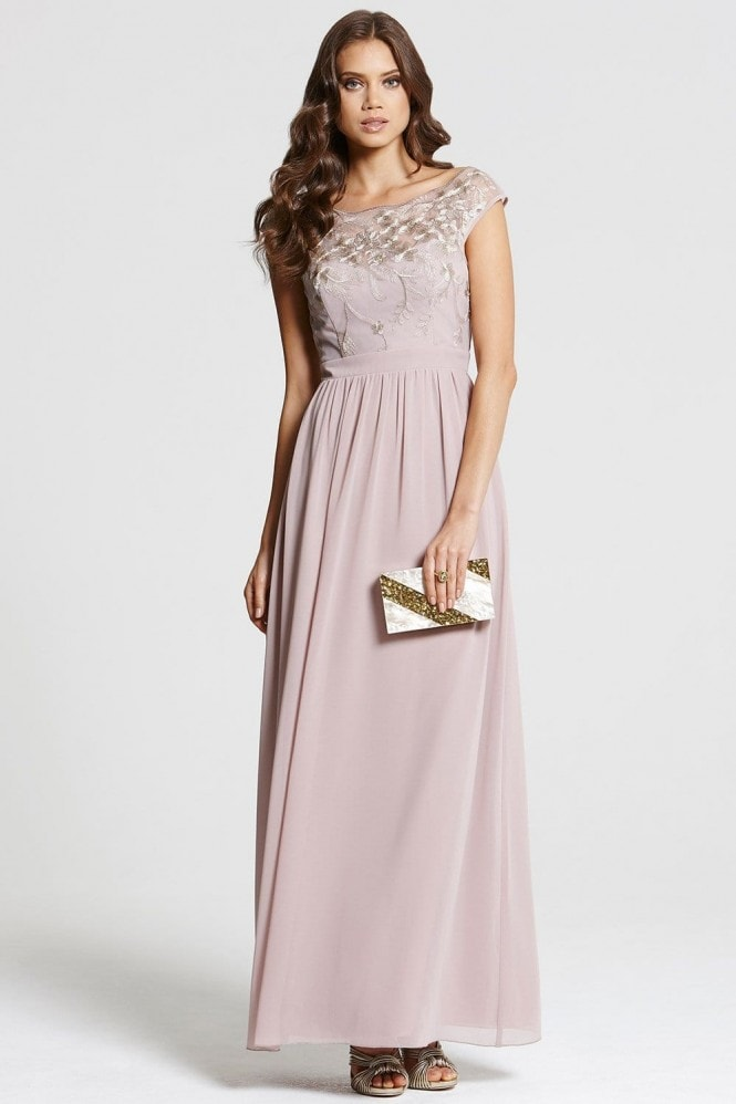 Little Mistress Mink and Gold Embellished Maxi Dress