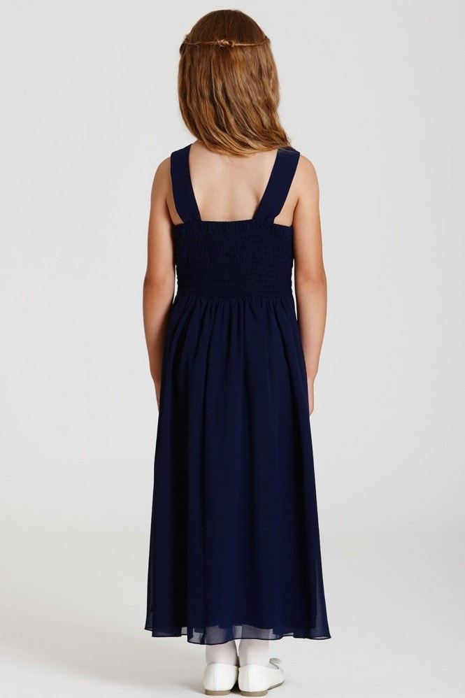 Little MisDress Navy Embellished Neck Maxi Dress